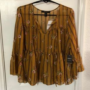 Striped and floral print top XL